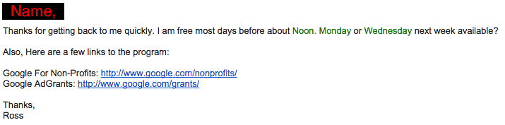 AdWords AdGrants Info Follow-up Email