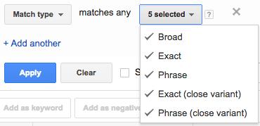 Match Type Filter