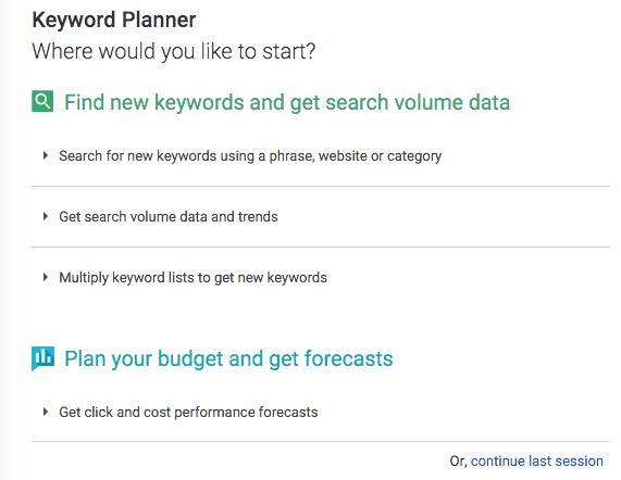 Google Keyword Planner starting point