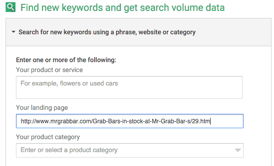 Keyword Planner landing page example for ppc keyword research