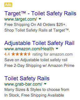 SEMrush SERP Source Ad Copy For Toilet Safety Rails