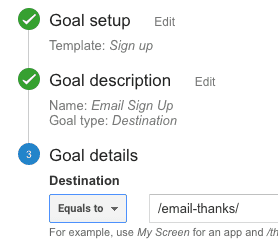 creating goal in google analytics