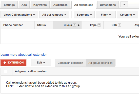 add call extensions in AdWords