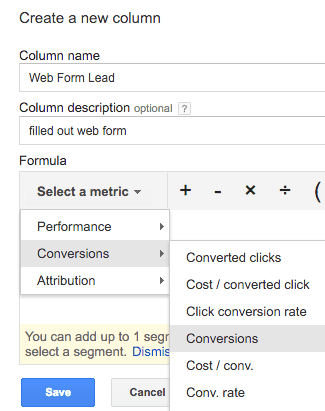 selecting conversion metric for custom columns