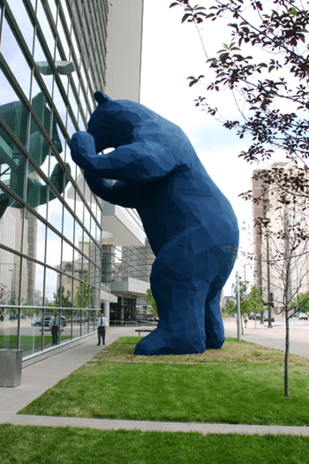 Blue bear outside convention center