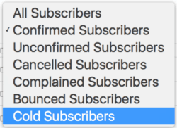 cold subscriber dropdown in convertkit