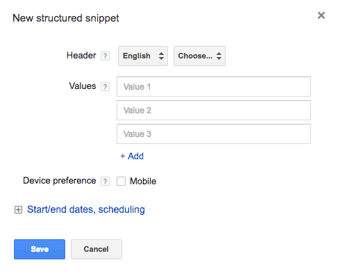 new structured snippet window