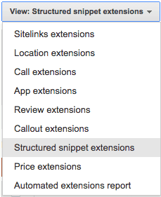 structured snippet dropdown