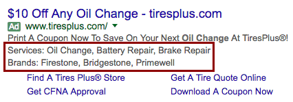 adwords structured snippet extension example