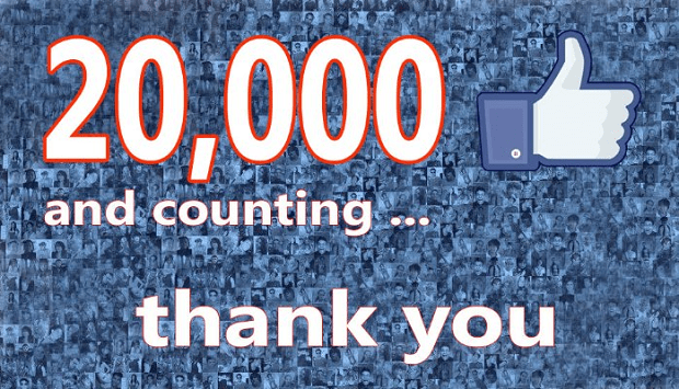 20,000 facebook likes and counting