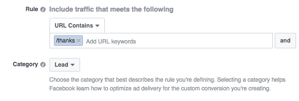 creating custom conversion in facebook