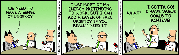 sense of urgency dilbert cartoon