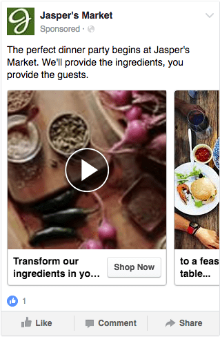 facebook carousel video ad with images