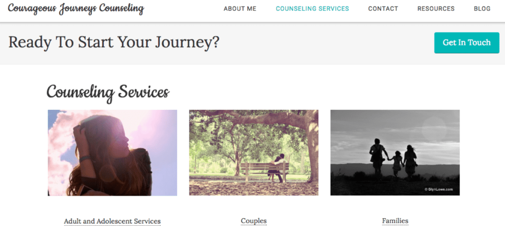 counseling services landing page