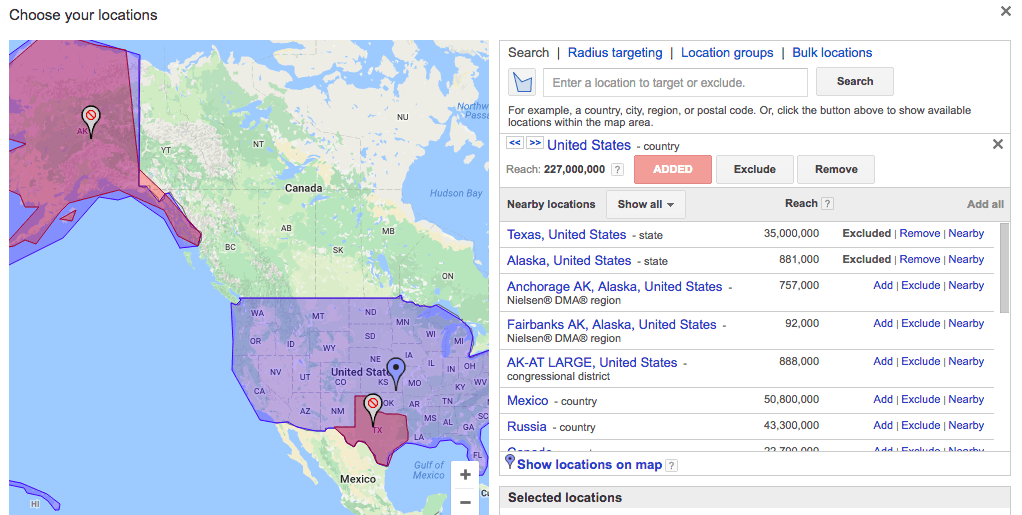 adwords country targeting with state exclusions