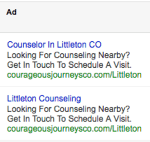 adwords ad copy for littleton counselor