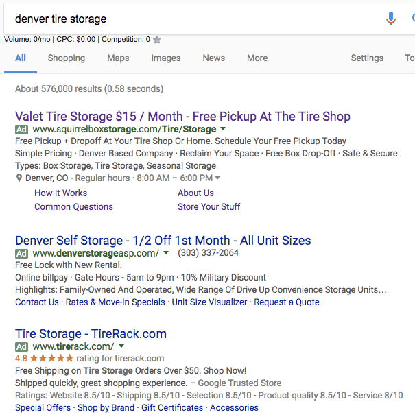 denver tire storage google search and top 3 adwords ads
