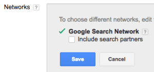 adwords search networks setting