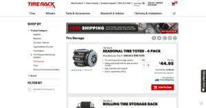 tire rack tire storage adwords landing page