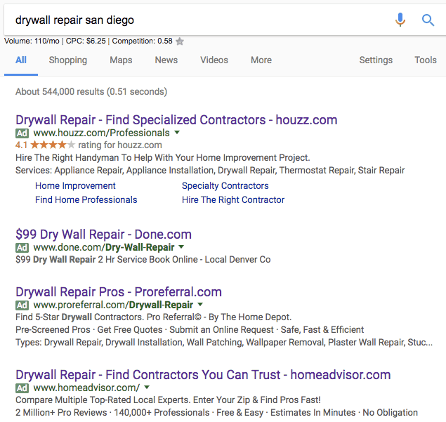 top 4 adwords ads for drywall repair san diego search