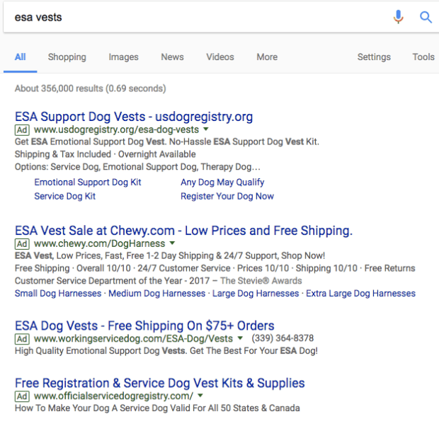 esa vests search and top adwords ads