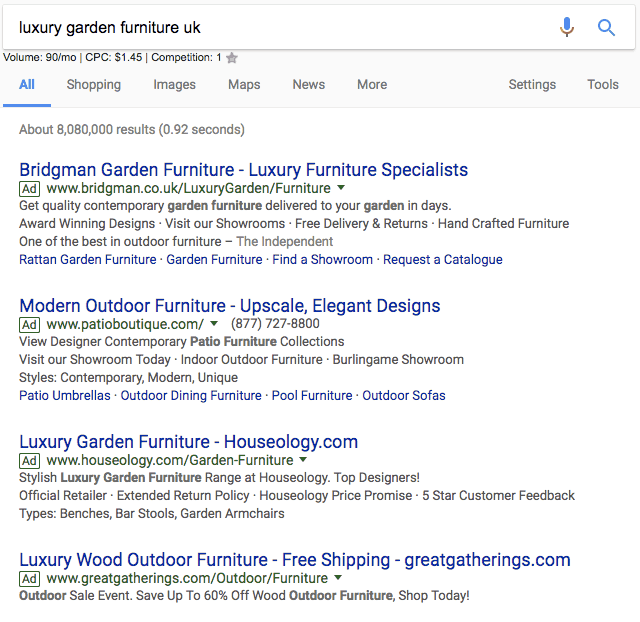 luxury garden furniture uk search and top ads
