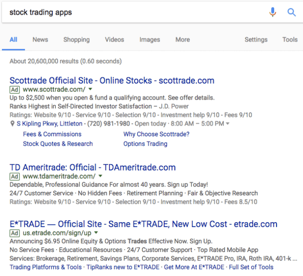 stock trading apps google search and adwords ads