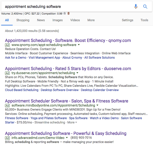 appointment scheduling software ads